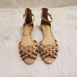 Jessica Simpson Nude Studded Ankle Strap Flats 7.5